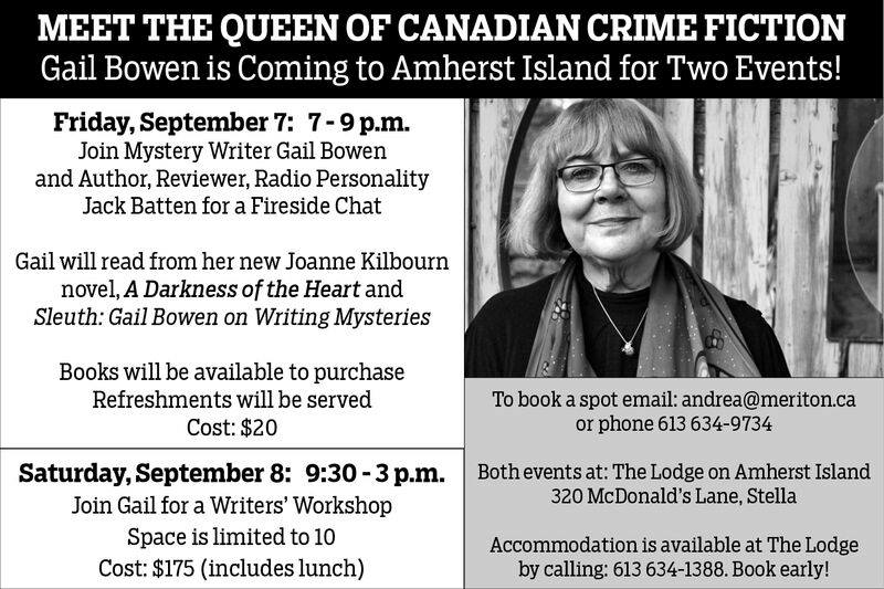Gail Bowen Comes To Amherst Island @ The Lodge