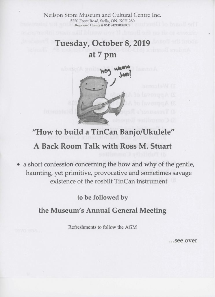 Back Room Talk and AGM @ Neilson Store Museum